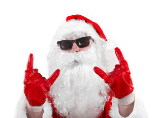 mean santa claus in shades over the white background
