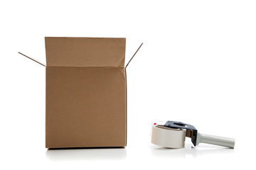 Cardboard shipping box with a tape gun