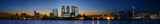 Panorama of the Canary Wharf area at sunset, London.