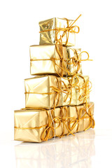 Gold gift rapped parcel pyramid