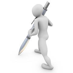 escribiendo boli de metal lateral