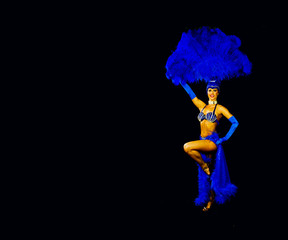 alluring showgirl in blue