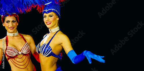 two showgirls closeup