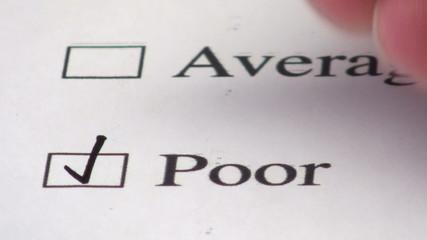 Customer service survey checkbox POOR - HD