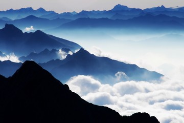 """Panoramic View from """"Zugspitze"""" (Alps)"""