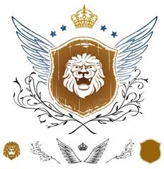Lion Head on Shield Insignia
