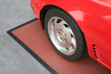 Red cars front tire