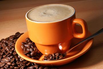 caffee crema mit kaffeebohnen