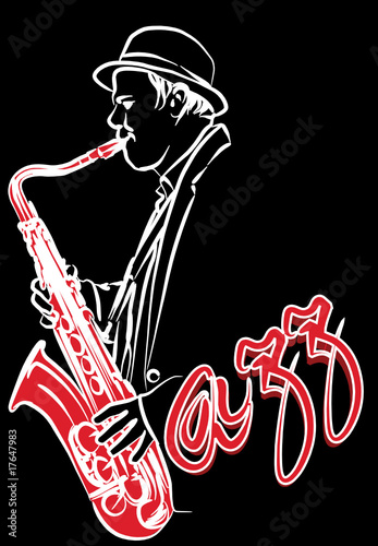 saxophonist on a black background © Isaxar