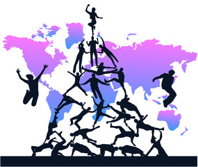 Illustration of people jumping and map