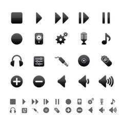 Black Deluxe Icons - Audio Equipment Set