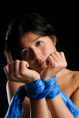 Asian girl tied up against her will