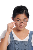 Asian girl looking over her glasses with a grin poster