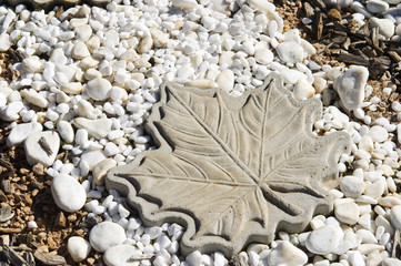 Large stone maple leaf in home back garden.