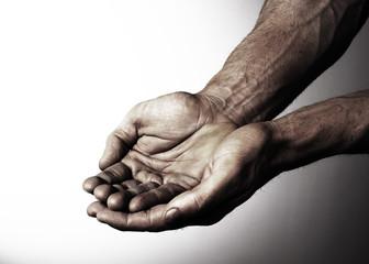 mains mendier aumône désespoir obscure