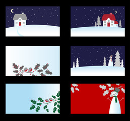 Set of christmas business cards