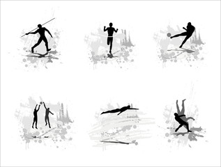 Set of silhouettes of sportsmen on abstract backgrounds. Part 2.
