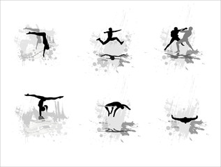 Set of silhouettes of sportsmen on abstract backgrounds. Part 3.