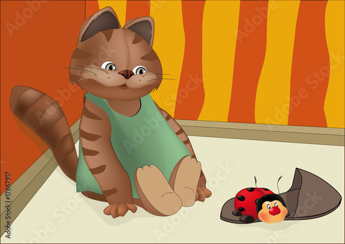 Poster Katten kitten and insect
