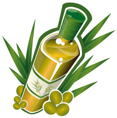 Bouteille d'huile d'olives et rameaux d'oliviers