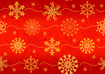 Seamless christmas red pattern with golden snowflakes