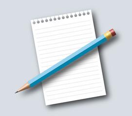 Notizzettel und Bleistift