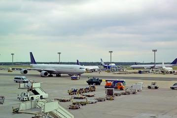 Germany, airplane traffic at Frankfurt airport