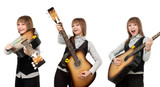 Girl with guitar in miscellaneous pose poster