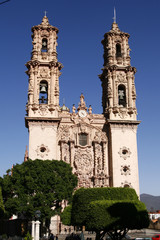 Facade of the Santa Prisca Church in a town of Taxco, Mexico