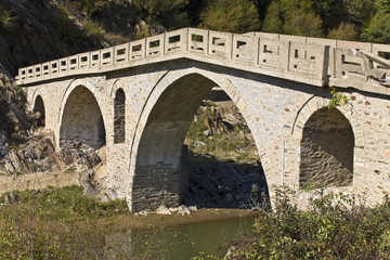Old traditional stone made bridge at Xanthi, Greece