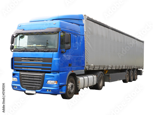 Big blue truck, Isolated over white