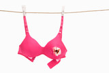 Broken pink bra for breast cancer concept poster