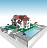 Architects Plan in 3D with Swimming Pool