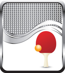 Ping pong ball and paddle on silver checkered wave backdrop
