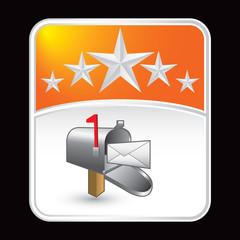 Mailbox on orange star background
