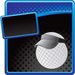 Golf ball with visor on blue and black halftone banner template