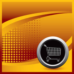 Shopping cart on orange halftone template