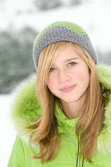 Teenage girl winter portrait
