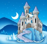 Frozen castle in winter landscape-