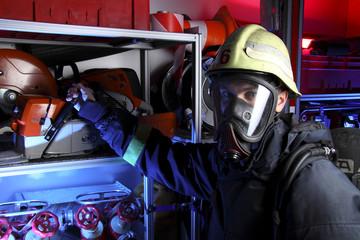 Portrait of firefighter in mask