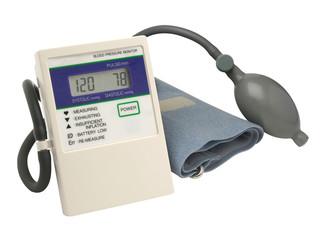 Digital blood pressure gauge over white