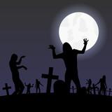 zombies nachts auf dem friedhof poster
