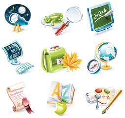 Vector cartoon style icon set. Part 23. School