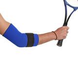Tennis player wearing an elbow bandage, orthopedic series poster