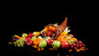 Fall arrangement of fruits and vegetables in a cornucopia
