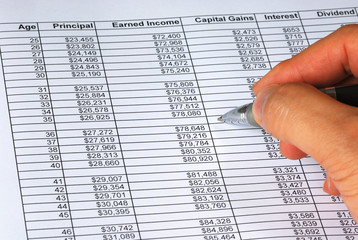 Project the future income and capital gains from the spreadsheet
