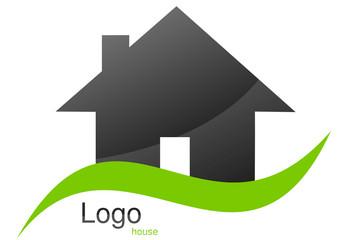 Logo maison courbe vert gris