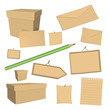 set of vector blank recycled paper office elements