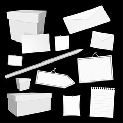 set of vector white blank office elements