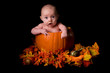 Baby in Large Pumpkin Isolated on Black